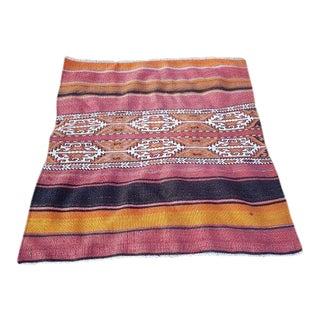 1970s Vintage Turkish Soumak Tribal Kilim Rug - 3′11″ × 4′3″ For Sale