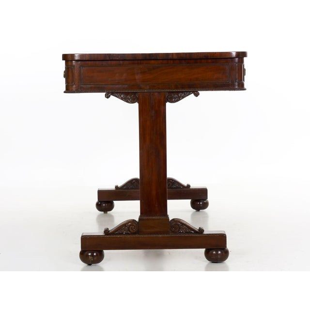 19th Century 19th Century English George IV Antique Writing Table Desk W/ Leather Top For Sale - Image 5 of 13