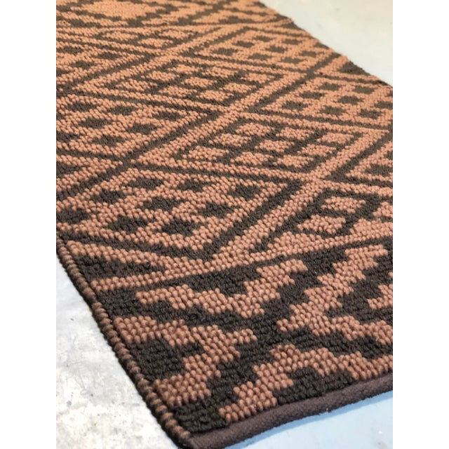 Heavy Knit Brown and Tan Geometric Rug For Sale - Image 10 of 13