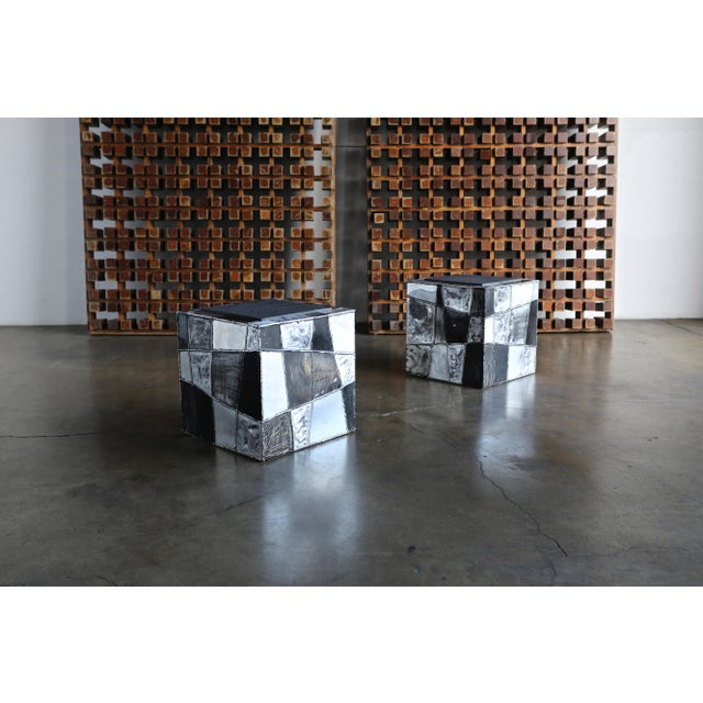 "Silver Paul Evans ""Argente"" Cube Side Tables For Sale - Image 8 of 13"