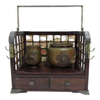 Antique Japanese Tobacco-Bon Smoking Set With Silver Embelishments (Meiji Period) For Sale