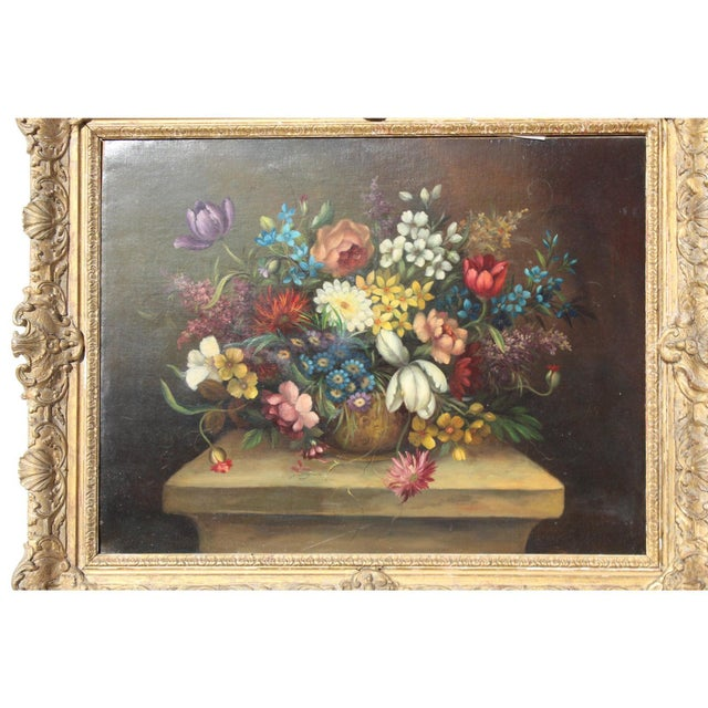 Wood Early 20th C. Dutch Italian Floral Painting For Sale - Image 7 of 10