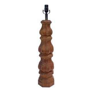 Tall Hand-Carved Balustrade Redwood Lamp For Sale