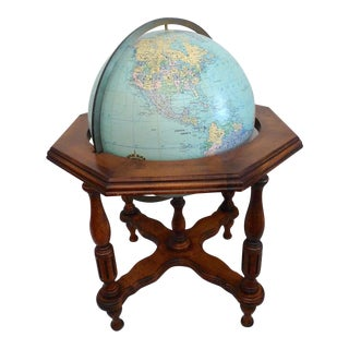 Mid 20th Century Statesman Illuminated Floor Heirloom Globe by Replogle For Sale