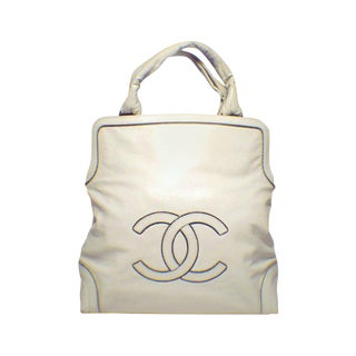 Chanel Cream Leather CC Chain Logo Handbag Tote For Sale
