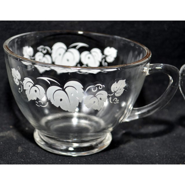 Glass Anchor Hocking Grape Leaf Punch Bowl Set - Set of 11 For Sale - Image 7 of 8