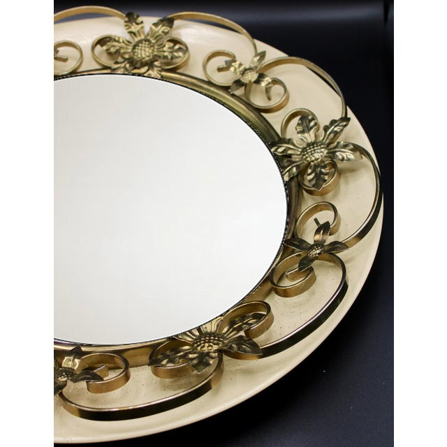 1960s Vintage English Round Metal Convex Mirror For Sale - Image 5 of 10