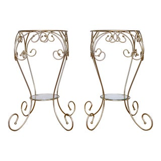 Brass and Glass Plant Stands | Matching Set of Two For Sale