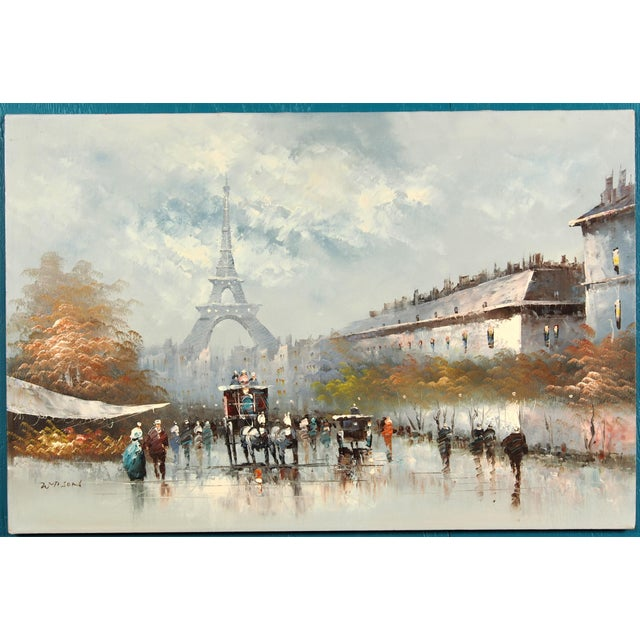 """Contemporary oil painting on canvas of an old Fashioned Paris City Street Scene, 24"""" x 36"""" Signed lower left. Excellent..."""