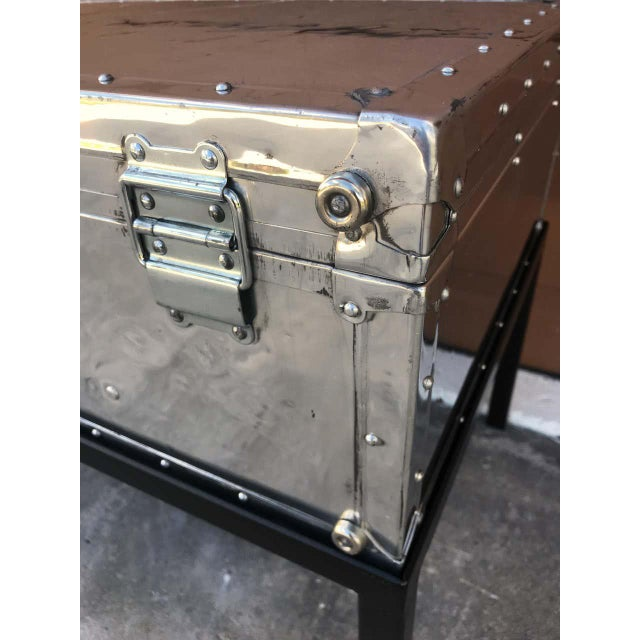 Silver Japanese Post War Aluminum Riveted Trunk on Iron Stand With Glass Top, Restored For Sale - Image 8 of 12