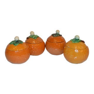 1970s Vintage Italian Majolica Condiment Jars- Set of 4 For Sale