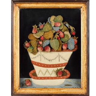 Antique Feltwork Picture of a Strawberry Plant in a Pot For Sale