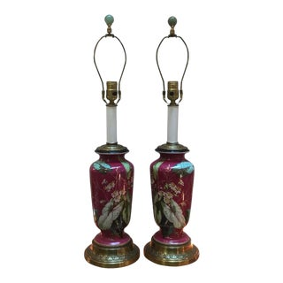 19th Century Fuchsia Floral Hand Painted Porcelain Lamps - a Pair For Sale