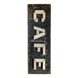 Antique Art Deco Double Sided Glass & Metal Café Sign For Sale