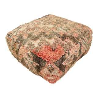 Hand Woven Berber Rug Moroccan Pouf Cover For Sale