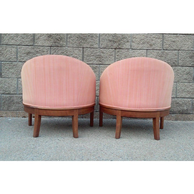 Salmon Dupioni Silk Tub Chairs-A Pair For Sale - Image 4 of 7