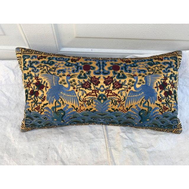 Chinoiserie Gold Silk Crane Boudoir Pillow - Image 2 of 9