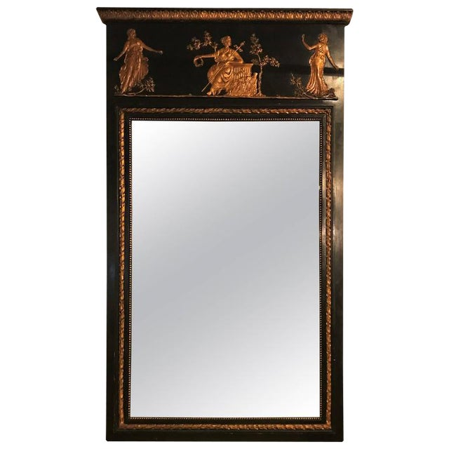 French Ebonized Neoclassical Style Wall or Console Mirror For Sale