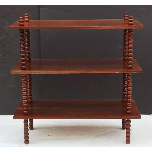 Early 20th Century English Console Shelves of Mahogany with Bobbin Turned Supports For Sale - Image 5 of 11