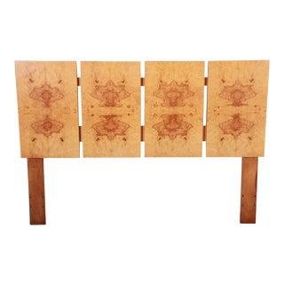 Milo Baughman Style Mid-Century Modern Burl Wood Queen Size Headboard For Sale