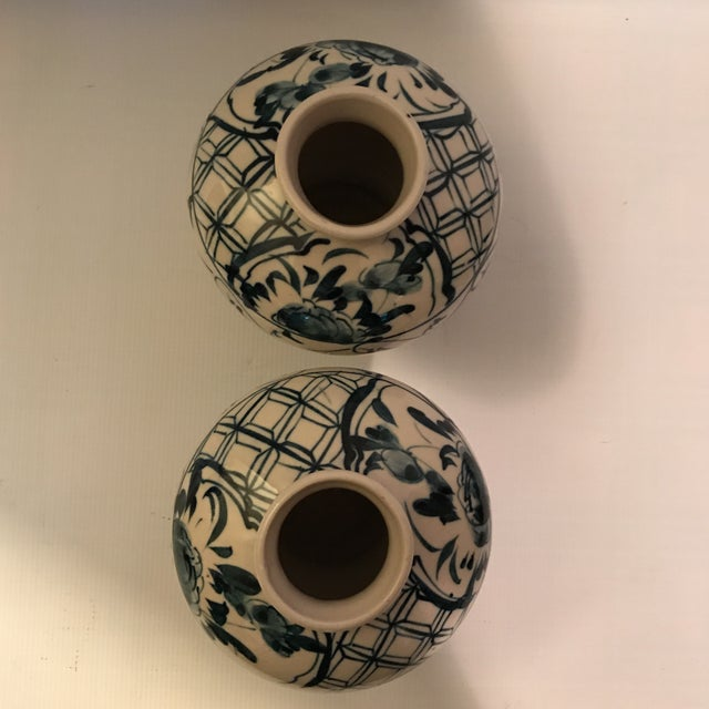 Ceramic Hand Painted Blue and White Porcelain Vases - a Pair For Sale - Image 7 of 12