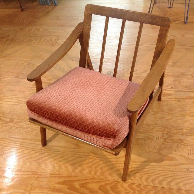 Vintage Mid-Century Oak & Burnt Orange Arm Chair - Image 8 of 9