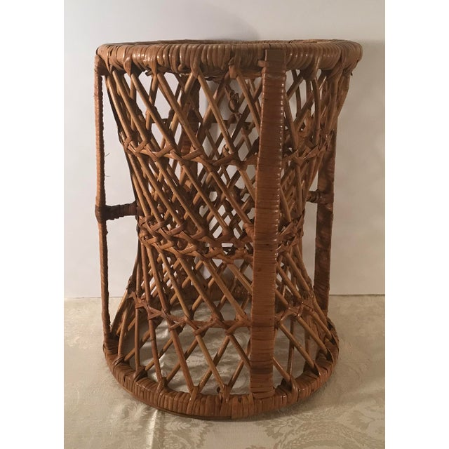 Brown Vintage Mid-Century Modern Wicker Stool or Plant Stand For Sale - Image 8 of 8