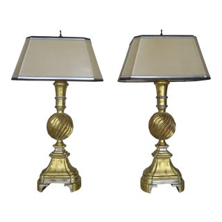 Pair of 22-Karat Gold and Silver Leaf Lamps With Parchment Shades For Sale