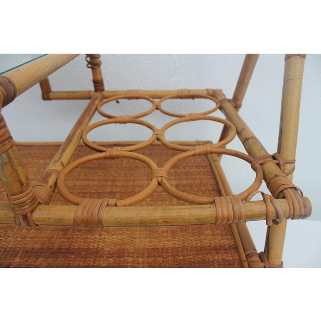 Vintage Small Rolling Wicker & Rattan Tea Cart For Sale - Image 5 of 11