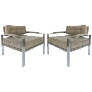 Mid-Century Modern Chrome Club Chairs in the Style of Harvey Probber, Pair For Sale