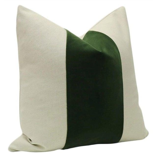 "22"" Fern Green Velvet Panel and Linen Pillows - a Pair - Image 3 of 4"