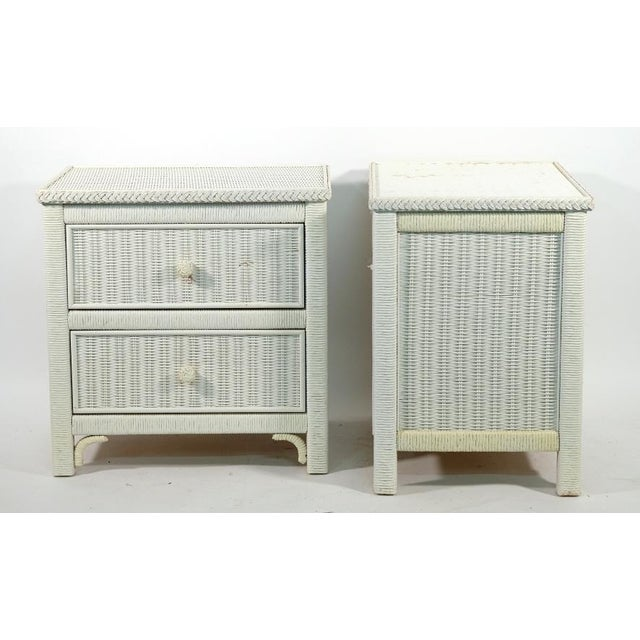 American Henry Link Two Drawer Wicker Side Tables - a Pair For Sale - Image 3 of 5