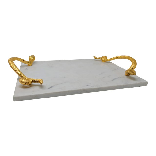 White Marble Tray With Gold Snake Handles For Sale