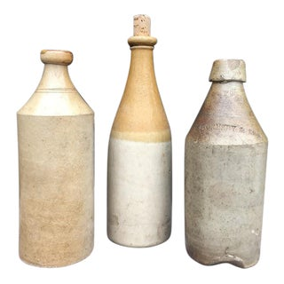 1840s/1850s Handmade Stoneware Beer Bottles - 3 Piece Set