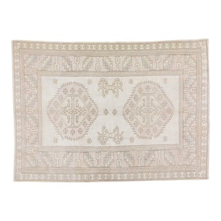 """Vintage Anatolian Oushak Handmade Hand Knotted Rug With Natural Colors,6'1""""x8'6"""" For Sale"""