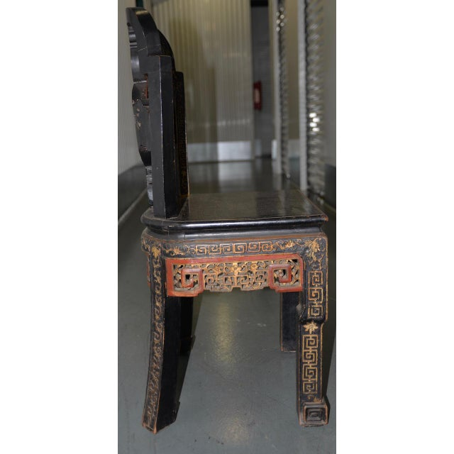 Asian 19th Century Chinese Carved & Painted Side Chair For Sale - Image 3 of 13
