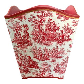 Vintage Pink Toile Wastebasket For Sale