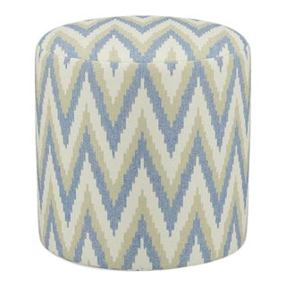 Scalamandre Drum Ottoman in Chevron Ikat For Sale