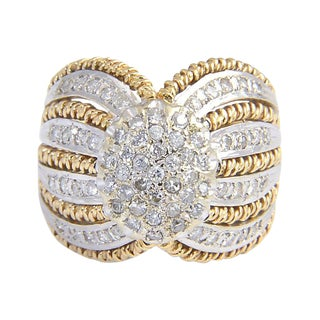 Diamond & 14k Yellow Gold Dome Ring For Sale