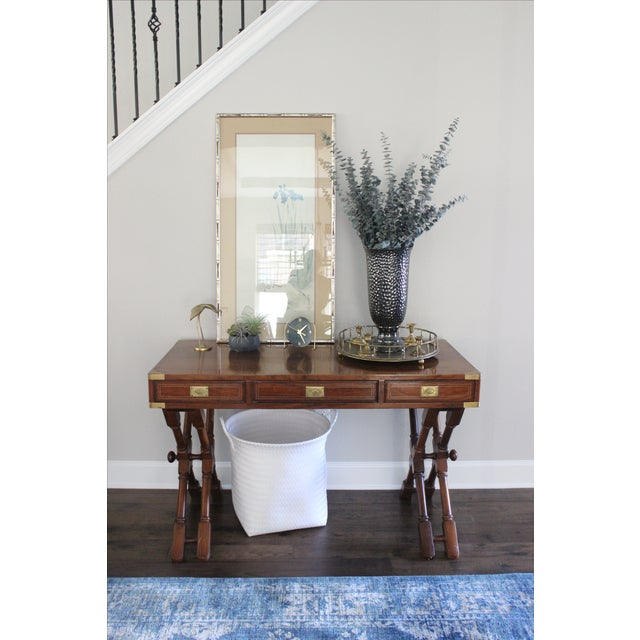 Campaign Campaign Style Rosewood & Brass Inlay Desk For Sale - Image 3 of 8