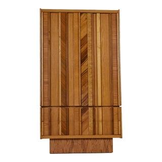 Vintage Maple Burl Walnut Rosewood and Oak Brutalist Armoire Dresser For Sale