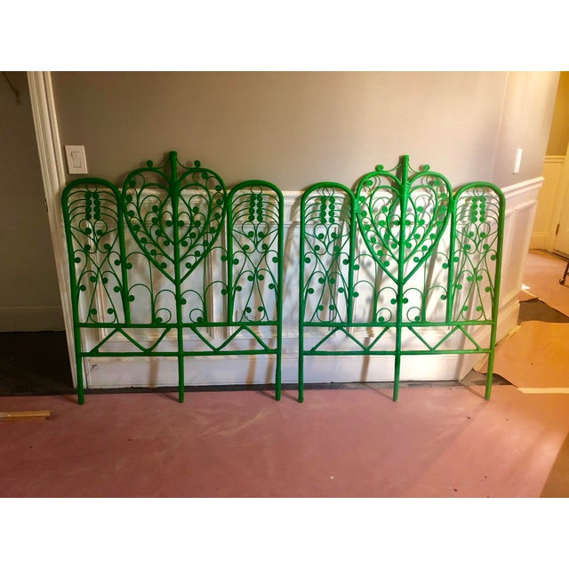 Vintage Boho Chic Wicker Emerald Green Twin Headboards - a Pair For Sale - Image 9 of 10