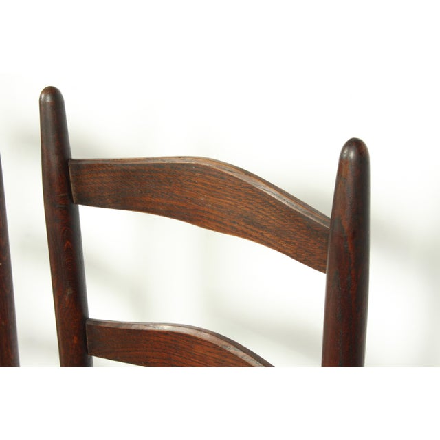 Mid 20th Century Six French Farmhouse-Style Oak Ladder Back Dining Chairs With Rush Seats For Sale - Image 5 of 12