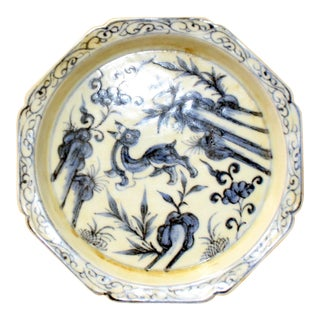 Chinese Blue White Octagonal Oriental Animal Graphic Porcelain Plate For Sale