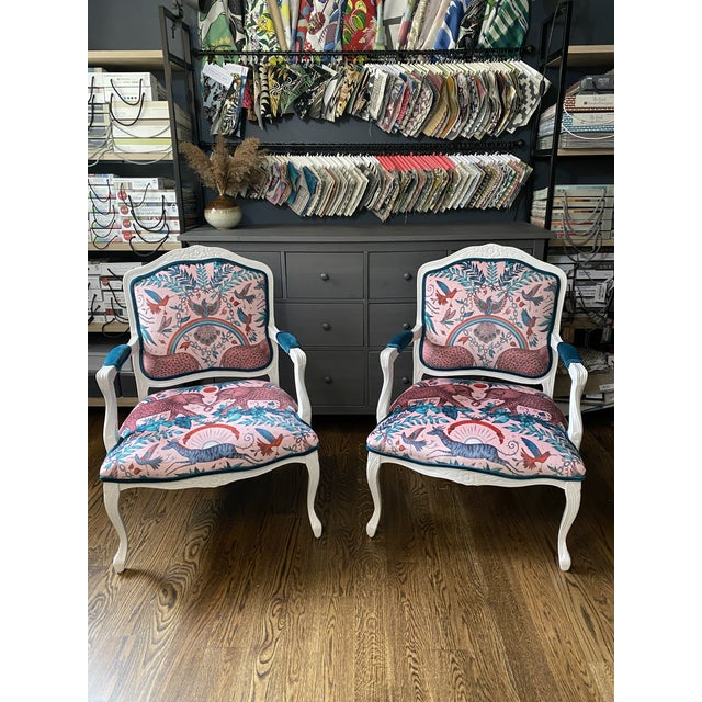 Vintage French Provincial Arm Chairs - a Pair For Sale - Image 10 of 10