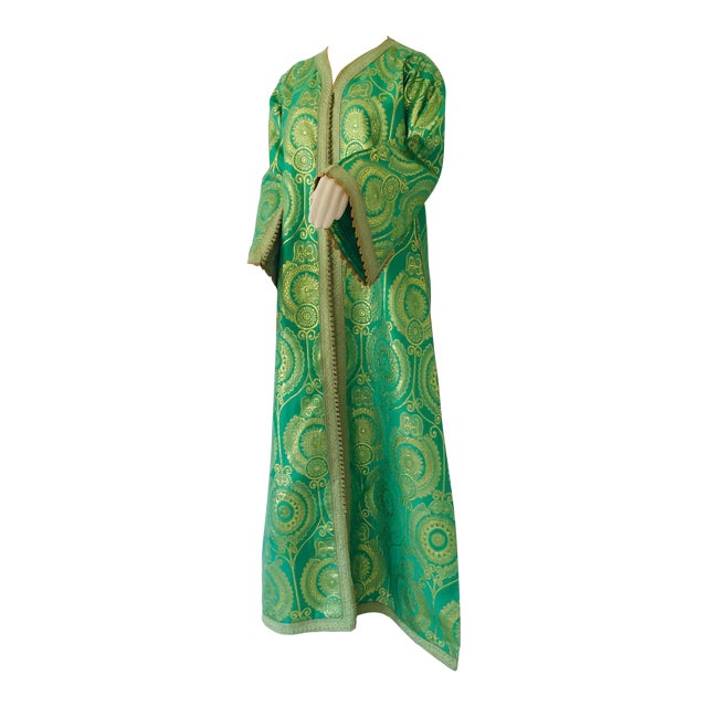 Elegant Moroccan Caftan Lime Green and Gold Metallic Floral Brocade For Sale