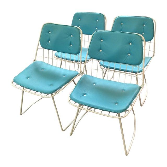 Bertoia Style Mid Century Wire Chairs - 4 | Chairish