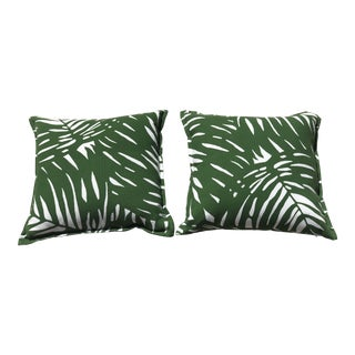Serena & Lily Outdoor Green Palm Pillows - a Pair