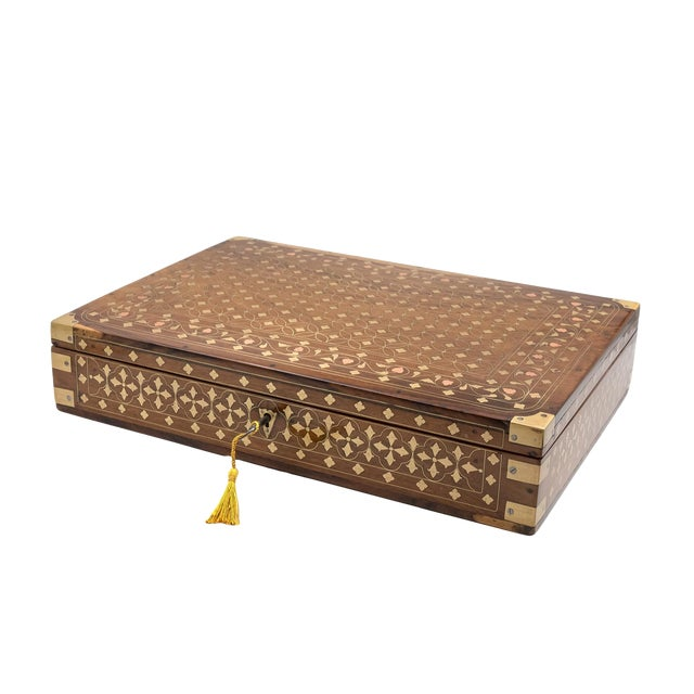 Anglo Indian Teak Box With Brass Inlay, India, Circa 1860 For Sale