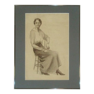1920s Charcoal Portrait Drawing of Woman For Sale